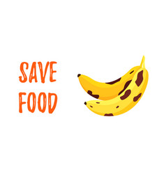 save food banner speckled rotten banana vector image