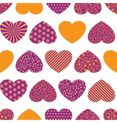 Seamless background with colorful hearts vector image
