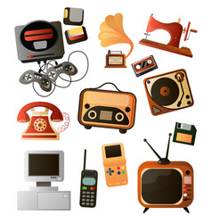 set different home retro objects and electronic vector image