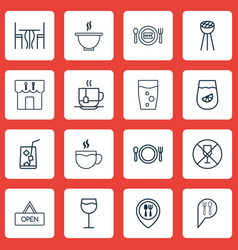 Set of 16 meal icons includes dining room bowl vector