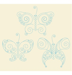 Set of three blue patterned butterflies vector image