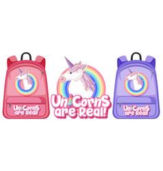 Set unicorn backpack vector
