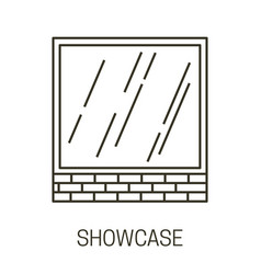 showcase isolated outline icon glass or shop vector image