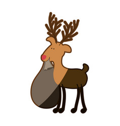 Silhouette caricature color of reindeer with vector