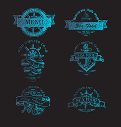 Sketch - logo for a seafood vector