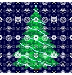 Snow Christmas tree background vector image