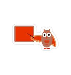 Stylish paper sticker on white background owl vector