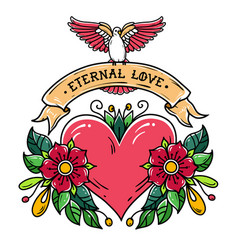 tattoo heart with flowers ribbon and dove love vector image