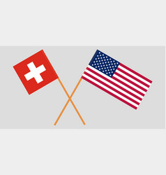 the switzerland and united states flags crossed vector image