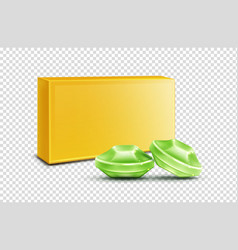 Throat lozenge green cough drops mock up clip art vector