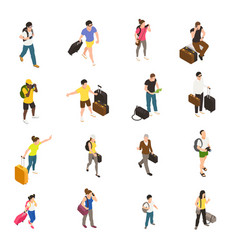 travel people isometric icons vector image