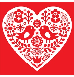 Valentines Day folk pattern with birds and flower vector image