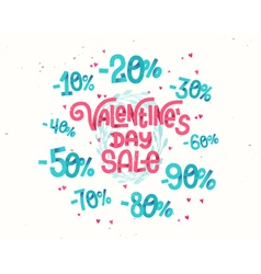 Valentines day sale discount percentages vector image