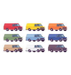 van set in bright colors vector image