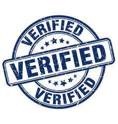 verified blue grunge round vintage rubber stamp vector image
