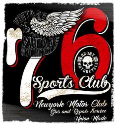 Vintage motorcycle logo emblem t shirt design vector