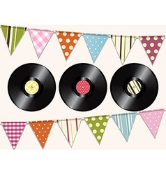 Vintage vinyl records and bunting background vector image