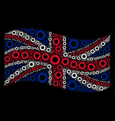 waving great britain flag mosaic of gear items vector image