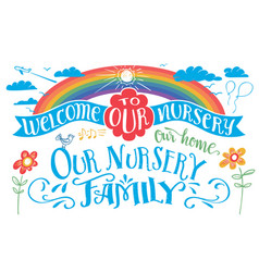 Welcome to our nursery headlines set vector