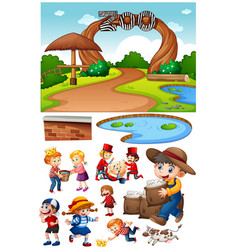 zoo scene with isolated cartoon character and vector image
