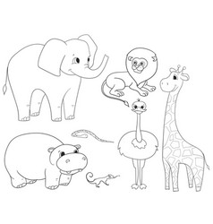 animals of africa object coloring for vector image vector image
