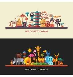 Flat design africa japan travel banners set vector