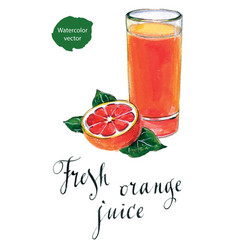 glass of orange juice with orange vector image