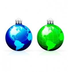 globe Christmas balls vector image vector image