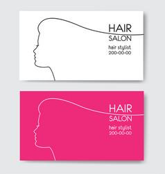 Hair salon business card templates with beautiful vector