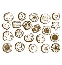 Set hand drawn cookies on white background vector image vector image