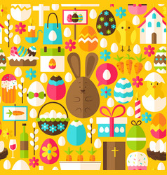 yellow easter seamless pattern vector image
