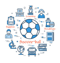 blue round soccer ball concept vector image vector image