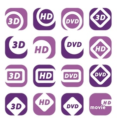 color movie icons vector image