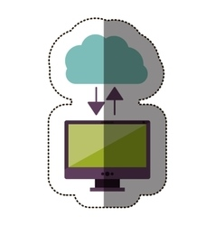 color sticker with cloud service and desktop vector image vector image