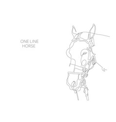 continuous one line horse drawing vector image