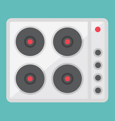 electric hot plate flat icon electrical stove vector image vector image
