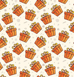 pattern of many red gift boxes with bows on light vector image vector image