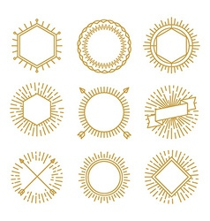 set of outline emblems and badges vector image
