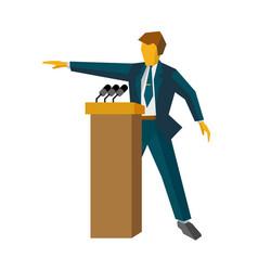 speaker at podium man standing at rostrum vector image