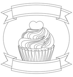 black and white cupcake poster heart topping text vector image vector image