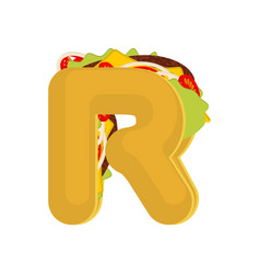letter r tacos mexican fast food font taco vector image