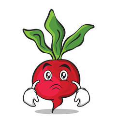 sad face radish character cartoon collection vector image vector image