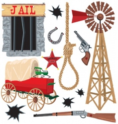 wild west clip art icons vector image vector image