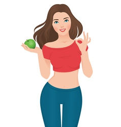 Beautiful slim girl on a diet vector image