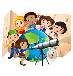 Children with telescope and world map vector image vector image