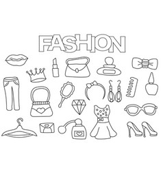 fashion elements hand drawn set vector image