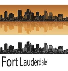 Fort Lauderdale skyline in orange vector image vector image