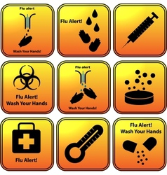 Set of flu alert icons vector image vector image
