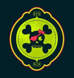 skull cameo girl cameo neon green ornate frame vector image vector image