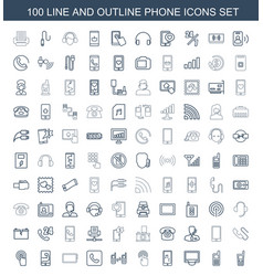 100 phone icons vector image